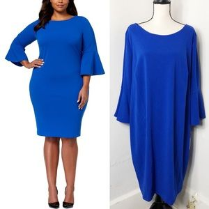 NWT Calvin Klein Blue Bell Sleeve Sheath Dress 22W